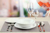 Table setting at restaurant — Stock Photo