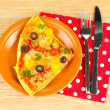 Royalty-Free Stock Photo: Plate with a slice of delicious pizza on wooden background