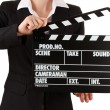 Movie production clapper board isolated on white — Stockfoto