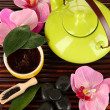 Chinese tea ceremony on bamboo table close-up — Stock Photo #19418137