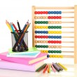 Bright wooden toy abacus, books and pencils, isolated on white - Foto Stock