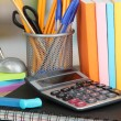 School supplies on wooden table - Stock fotografie