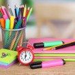 School supplies on wooden table - Lizenzfreies Foto