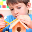 Cute little boy makes birdhouse for birds — Stock Photo