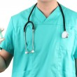 Doctor with syringe, isolated on white — Stock Photo