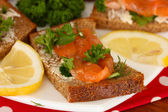 Salmon sandwich on plate,on wooden background, close up — Stock Photo
