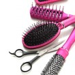 Comb brushes and Hair cutting shears, isolated on white - Foto Stock