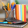 School supplies on wooden table — Photo