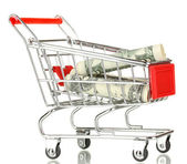 Money in cart isolated on white — Stock Photo