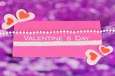 紫色の背景にバレンタインの日グリーティング カード — ストック写真