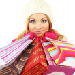 Attractive young woman woman with lot of shopping bags, isolated on white — Stock Photo