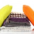 Plaids and color pillows, isolated on white - Stock Photo