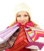 ショッピング バッグ、白で隔離される多くの魅力的な若い女性女性 — ストック写真