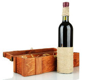 Red wine in box isolated on white — Stock Photo