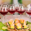 Royalty-Free Stock Photo: Canapes and wine in restaurant