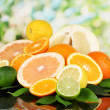 Lots ripe citrus on black table on natural background — Stock Photo #19504035