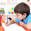Cute little boy drawing in his album — Stock Photo #19504115