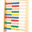 Bright wooden toy abacus, isolated on white — Foto Stock