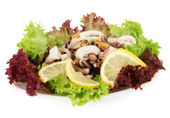 Healthy Seafood Salad with shrimps,octopus and mussels,squids isolated on white — Stock Photo