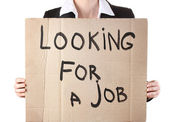 Businesswoman holding sign Looking — Foto Stock