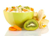 Cottage cheese in color bowl with exotic fruits, isolated on white — Stock Photo