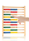Accountant counting on an abacus, isolated on white — Stockfoto