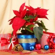 Beautiful poinsettia with christmas balls and presents on gold fabric background - Stock Photo