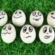 Eggs with funny faces on grass - Stock Photo