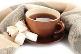 Tazza di tè con sciarpa isolato su bianco — Foto Stock