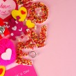 Composition Valentine's Day on pink background — Stock Photo