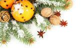Composição de Natal com laranjas e árvore do abeto, isolado no branco — Fotografia Stock