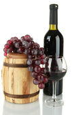Composition of wine,wooden barrel and grapes isolated on white — Stock Photo