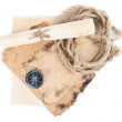 Old paper, compass, scroll and rope  isolated on white — Stock Photo #19697143