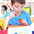 Cute little boy painting in his album — Stock Photo #19698527