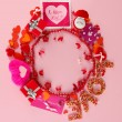 Circular composition Valentine's Day on pink background - Stock Photo