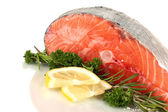 Fresh salmon steak, isolated on white — Stock Photo