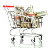 Shopping trolley with dollars and Ukrainian coins, isolated on white — Stock Photo