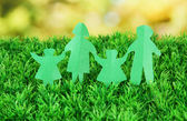 Paper on green grass on bright background — Stock Photo