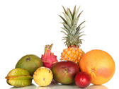 Composition of exotic fruits isolated on white — Stock Photo