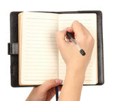 Hand write on notebook, isolated on white — Stock Photo