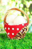 Many eggs in basket on grass on bright background — Stock Photo
