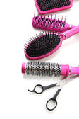 Comb brushes and Hair cutting shears, isolated on white — Stock Photo