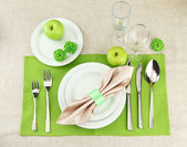 Holiday table setting, close up — Stock Photo