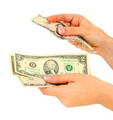 Woman recounts dollars, close up, isolated on white — Stock Photo