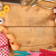 Sewing accessories and fabric on wooden table close-up — Foto Stock #19776597