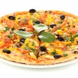 Stock Photo: Tasty pizza with vegetables, chicken and olives isolated on white