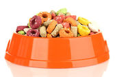 Dry dog treats in bowl isolated on white — Stock Photo