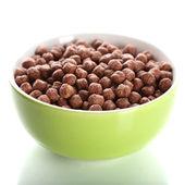 Deliciosas y saludables cereales en recipiente aislado en blanco — Foto de Stock