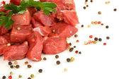 Carne crua, isolado no branco — Fotografia Stock