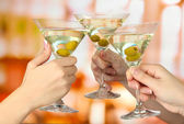 Corporate party martini glasses — Stock fotografie